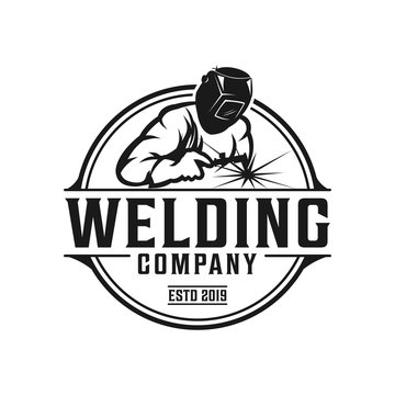 Welding company badge logo design