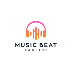 electro music beat / headphone vector logo design