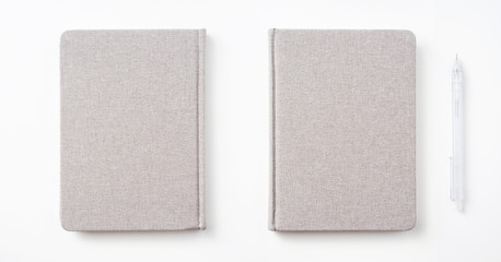 fabric hardcover notebook isolated on white background