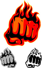Flaming Red Fist Art