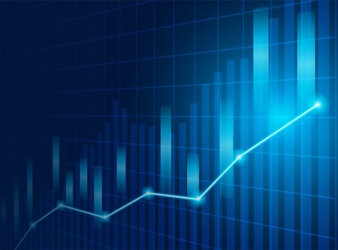 Stock market. Candle stick graph chart of stock market investment trading. Stock market data. Bullish point, Trend of graph . blue background. Vector.