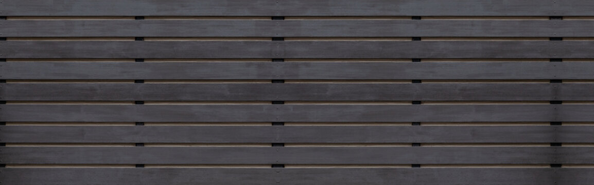 Panorama of Black wood fence texture and background seamless