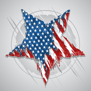 STAR AMERICA USA FLAG ABSTRACT GRUNGE EPS ELEMENT VECCTOR