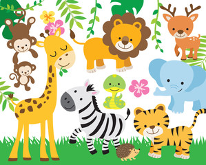 Fototapete - Vector illustration of cute safari animals including lion, tiger, elephant, monkey, zebra, giraffe, deer, snake, and hedgehog.