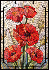 Stained glass large flowers poppies on a light beige background in a geometric frame. Vector full color graphics