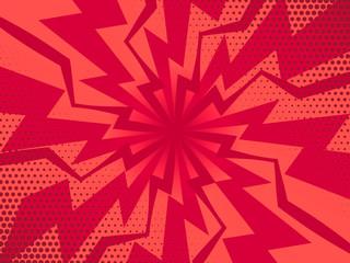 Retro comic rays red background. Vector illustration in pop art retro style