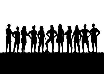 Silhouette of Women's soccer team, Vector Illustration