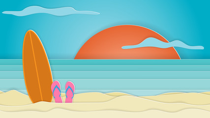Sea view in summer with surfboard placed on the beach. Paper cut and craft style. Vector.
