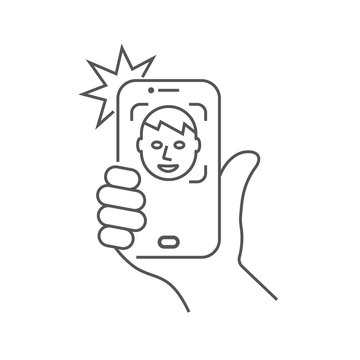 The hand hold the smartphone and doing selfie. Photo on smartphone. Editable Stroke. EPS 10.
