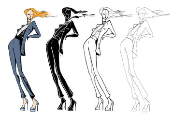 Wall Mural - Fashion models sketch hand drawn , stylized silhouettes isolated.Vector fashion illustration set.