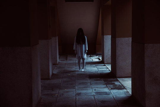 Horror woman ghost creepy standing at the house,
