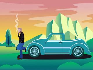 Man smoking alone in long drive