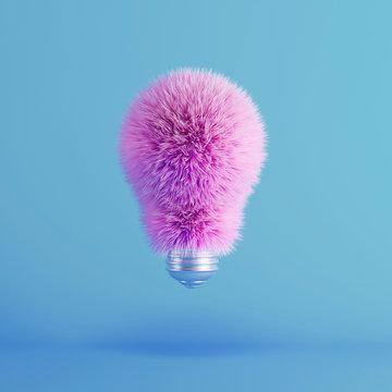 Pink Fur Light Bulb on floating blue background. minimal idea creative concept. 3D Render.