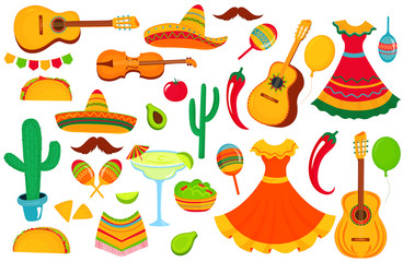 A large set of decorative elements for the design of a poster, banner, flyer, greeting card, advertising for the national Mexican holiday. Musical instruments, local food, clothing