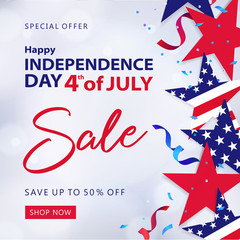 Fourth of July Sale. 4th of July holiday banner. USA Independence Day background for sale, discount, advertisement, web. Place for your text