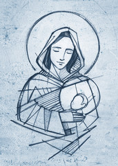 Virgin Mary and baby Jesus hand drawn pencil illustration