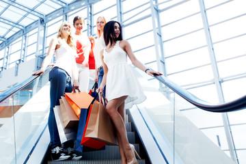 Girls in shopping mall