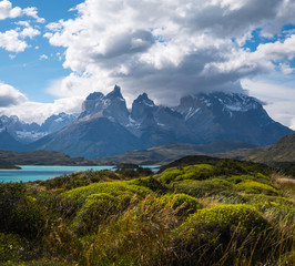 Torres del Paine National Park with snow capped mountains (Cordillera Paine) covered in the clouds and lush green vegetation on the foreground. Chile