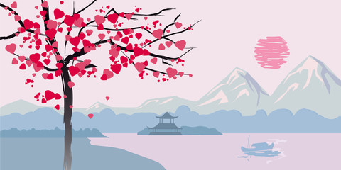 Flowering tree with hearts on the background of the Chinese seascape landscape