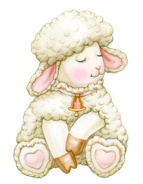 Cute,  sitting baby  sheep cartoon, isolated on white. Watercolor.