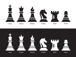 Chess Figurine Flat Vector Illustration. Six Objects Including King, Queen, Bishop, Knight, Rook, Pawn Wall mural
