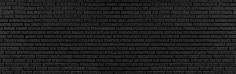 Fotobehang - Panoramic texture of black brick wall, brickwork background for design or backdrop