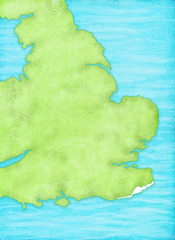 England Map with sea textured