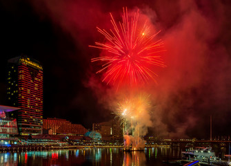 Beautiful fireworks on the famous Darling Harbor, Sydney, Australia