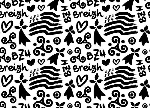 Hand drawn grunge style doodle vector seamless pattern with breton hand-drawn symbols: Gwen-ha-du black and white flag of Brittany, doodle triskels, line-art hermines, Bretagne, Breizh and BZH