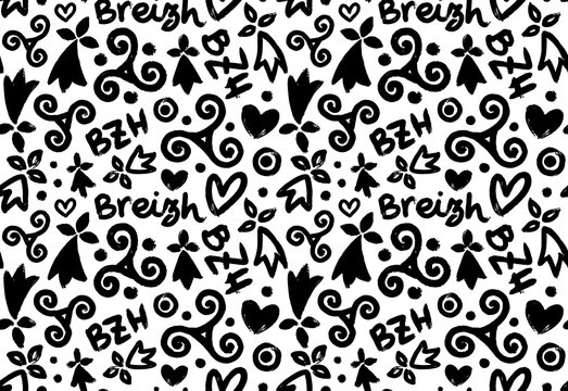 Hand drawn black grunge breton symbols: triskels and hermines with letterings BZH and Breizh on white background, vector seamless pattern tile
