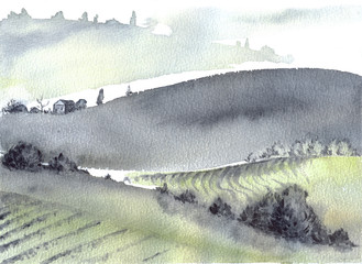 Tuscan farm and distant mountains landscape watercolor painting.