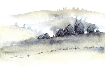 Tuscan farmland and fogg hills landscape watercolor painting.