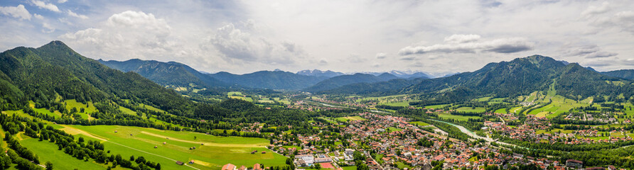 Aerial Brauneck Lenggriess. Bavarian Alps. Ski Resort. Travel Destination June 2019 Wall mural