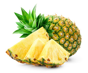 Whole pineapple and pineapple slice. Pineapple with leaves isolate on white. Full depth of field..