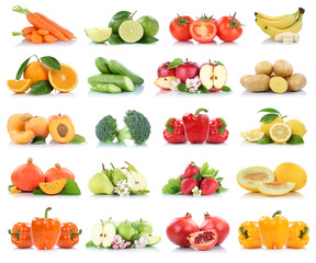 Wall Mural - Fruits vegetables collection isolated apple apples oranges bell pepper tomatoes banana colors fresh fruit