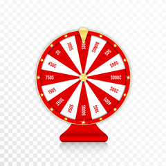 Wheel of fortune, spinning fortune wheel in red and golden colors. Realistic roulette design for lottery, casino games