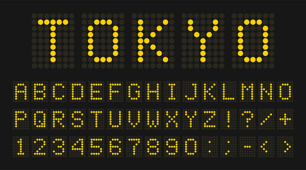 Led digital font, letters and numbers. English alphabet in digital screen style. Led digital board concept for airport, sport matches, billboards and advertising