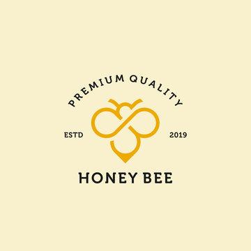 vintage honey bee logo template illustration vector icon download