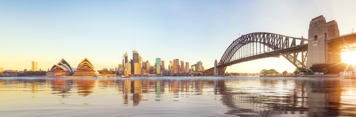 Aluminium Prints Sydney Panorama of Sydney harbour and bridge