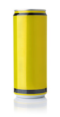 Front view of blank yellow drink can