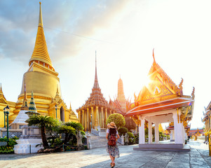 Poster de jardin Bangkok Asian lady walking and travel in Wat Phra Kaew