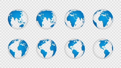 Earth globe 3d. Realistic world map globes continents. Planet with cartography texture, geography isolated on transparent vector set Wall mural