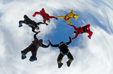 Sky dive team work low angle view