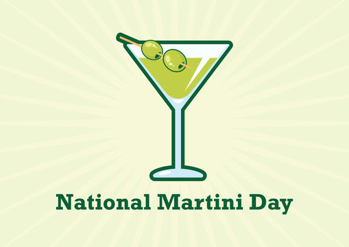 National Martini Day vector. Martini drink with olive vector. Martini glass with olive icon. National Martini Day Poster, June 19