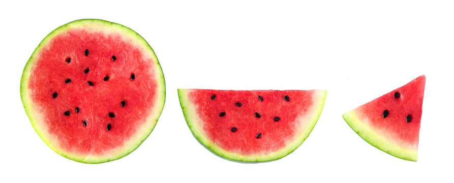 Slices of summer watermelon, whole round, half and piece isolated on a white background