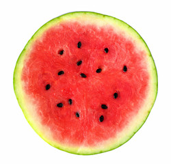 Slice of fresh whole round watermelon isolated on a white background