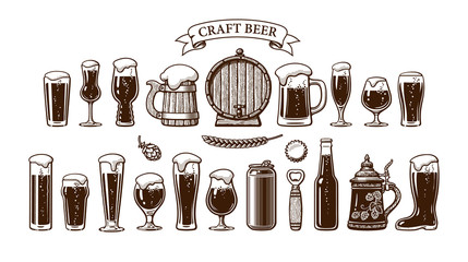 Big vintage set of beer objects. Various types of beer glasses and mugs, old wooden barrel, hop, bottle, can, opener, cap. Hand drawn engraving style vector illustration on white background.