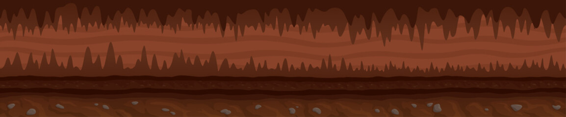 Brown unending landscape with mystic dark cave