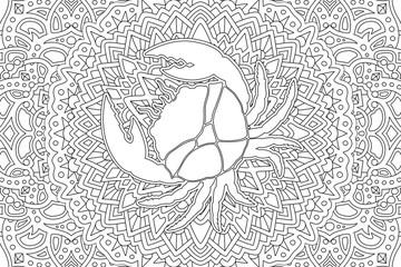 Zodiac symbol cancer on beautiful linear pattern
