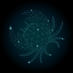 Starry low poly art with zodiac symbol cancer